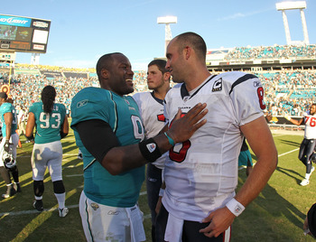 JACKSONVILLE, FL - NOVEMBER 14:  David Garrard #9 of the Jacksonville Jaguars greets Matt Schaub #8 after a game against the Houston Texans at EverBank Field on November 14, 2010 in Jacksonville, Florida.  (Photo by Mike Ehrmann/Getty Images)