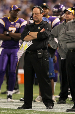 MINNEAPOLIS - NOVEMBER 07:  Head coach Brad Childress of the Minnesota Vikings stands on the sideline during the game with the Arizona Cardinals at Hubert H. Humphrey Metrodome on November 7, 2010 in Minneapolis, Minnesota. The Vikings won 27-24 in overti