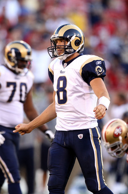 SAN FRANCISCO - NOVEMBER 14:  Sam Bradford #8 of the St. Louis Rams reacts after the Rams were unable to convert on third down against the San Francisco 49ers at Candlestick Park on November 14, 2010 in San Francisco, California.  (Photo by Ezra Shaw/Gett