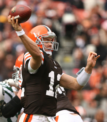 CLEVELAND - NOVEMBER 14:  Quarterback Colt McCoy #12 of the Cleveland Browns throws to a receiver against the New York Jets at Cleveland Browns Stadium on November 14, 2010 in Cleveland, Ohio.  (Photo by Matt Sullivan/Getty Images)