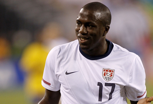EAST RUTHERFORD, NJ - AUGUST 10: Jozy Altidore #17 of the U.S. faces Brazil in the second half of a friendly match at the New Meadowlands on August 10, 2010 in East Rutherford, New Jersey. (Photo by Jeff Zelevansky/Getty Images)