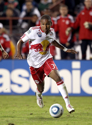 SANTA CLARA, CA - OCTOBER 30:  Juan Agudelo #39 of the New York Red Bulls in action against the San Jose Earthquakes during the 1st leg of their playoff match up at Buck Shaw Stadium on October 30, 2010 in Santa Clara, California.  (Photo by Ezra Shaw/Get