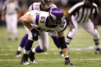 NEW ORLEANS - JANUARY 24:  Jared Allen #69 of the Minnesota Vikings lines up in a three point stance on defense against the New Orleans Saints during the NFC Championship Game at the Louisiana Superdome on January 24, 2010 in New Orleans, Louisiana.  (Pho