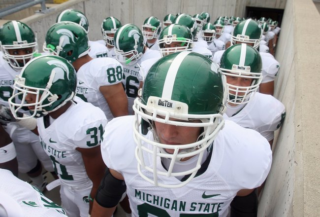 MADISON, WI - SEPTEMBER 26: Members of the Michigan State Spartans wait to enter the field of play before a game against the Wisconsin Badgers on September 26, 2009 at Camp Randall Stadium in Madison, Wisconsin. (Photo by Jonathan Daniel/Getty Images)