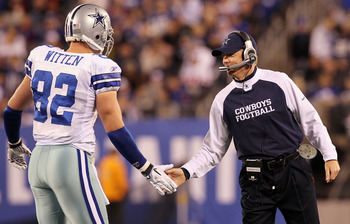 EAST RUTHERFORD, NJ - NOVEMBER 14:  Head coach Jason Garrett of the Dallas Cowboys celebrates a play against the New York Giants with Jason Witten #82 on November 14, 2010 at the New Meadowlands Stadium in East Rutherford, New Jersey.  (Photo by Jim McIsa