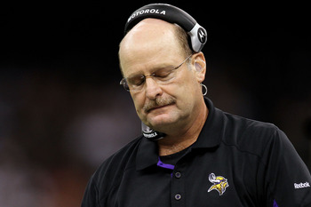 NEW ORLEANS - SEPTEMBER 09:  Head coach Brad Childress of the Minnesota Vikings reacts late in the second half the New Orleans Saints at Louisiana Superdome on September 9, 2010 in New Orleans, Louisiana.  (Photo by Ronald Martinez/Getty Images)