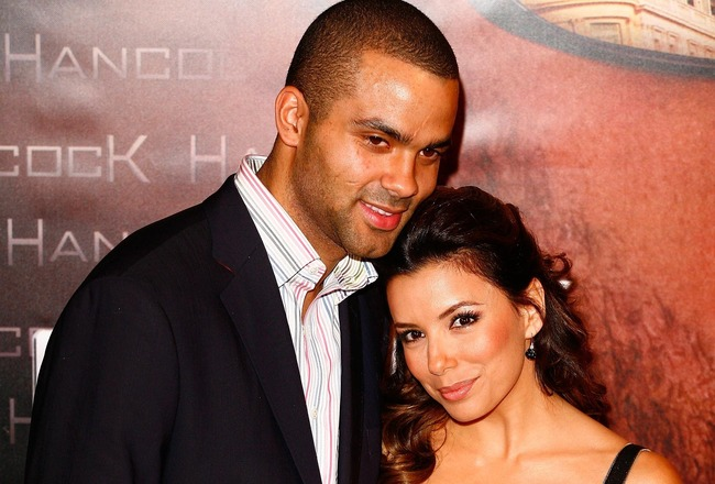 PARIS - JUNE 16:  Tony Parker and Eva Longoria attend the movie premiere of 'Hancock' on June 16, 2008 at L'Olympia Hall in Paris, France.  (Photo by Julien M. Hekimian/Getty Images)