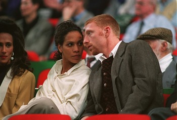 7 DEC 1993:  GERMAN TENNIS STAR BORIS BECKER WITH HIS FIANCEE BARBARA FELTUS DURING THE 1993 COMPAQ CUP IN MUNICH, GERMANY. Mandatory Credit: Clive Brunskill/ALLSPORT
