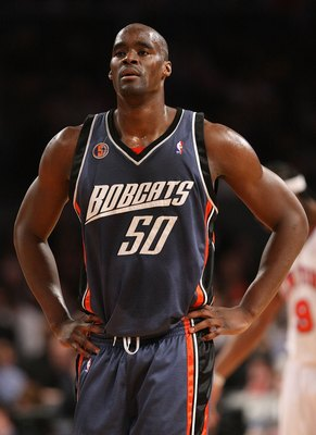 NEW YORK - MARCH 07: Emeka Okafor #50 of the Charlotte Bobcats looks on against the New York Knicks on March 7, 2009 at Madison Square Garden in New York City. NOTE TO USER: User expressly acknowledges and agrees that, by downloading and or using this pho