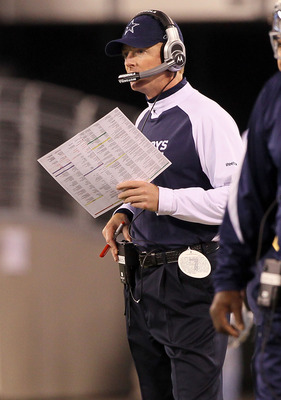 EAST RUTHERFORD, NJ - NOVEMBER 14:  Head coach Jason Garrett of the Dallas Cowboys looks on from the sidelines against the New York Giants on November 14, 2010 at the New Meadowlands Stadium in East Rutherford, New Jersey.  (Photo by Jim McIsaac/Getty Ima