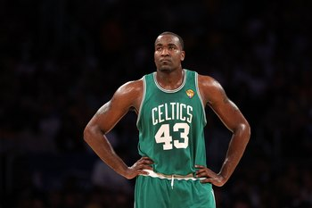 LOS ANGELES, CA - JUNE 06:  Kendrick Perkins #43 of the Boston Celtics looks on against the Los Angeles Lakers in Game Two of the 2010 NBA Finals at Staples Center on June 6, 2010 in Los Angeles, California. The Celtics won 102-94. NOTE TO USER: User expr