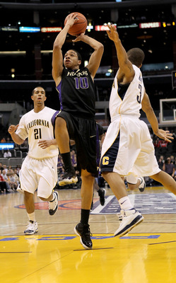 LOS ANGELES, CA - MARCH 13:  Abdul Gaddy #10 of the Washington Huskies goes up for a shot over Jerome Randle #3 and Omondi Amoke #21 of the California Golden Bears during the championship game of the Pac-10 Basketball Tournament at Staples Center on March