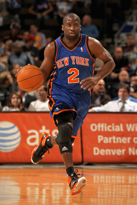 DENVER - NOVEMBER 16:  Raymond Felton #2 of the New York Knicks dribbles the ball against the Denver Nuggets at the Pepsi Center on November 16, 2010 in Denver, Colorado. The Nuggets defeated the Knicks 120-118. NOTE TO USER: User expressly acknowledges a
