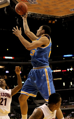LOS ANGELES, CA - MARCH 11:  Tyler Honeycutt #23 of the UCLA Bruins shoots against the Arizona Wildcats during the quarterfinals of the Pac-10 Basketball Tournament at Staples Center on March 11, 2010 in Los Angeles, California. UCLA won 75-69.  (Photo by