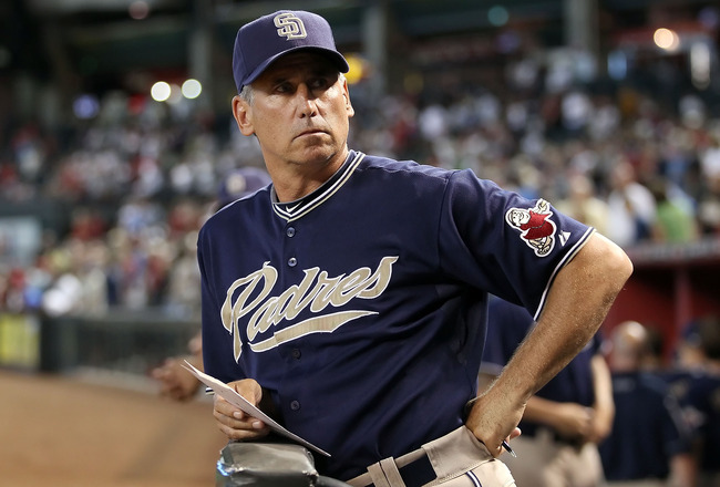 PHOENIX - AUGUST 08:  Manager Bud Black of the San Diego Padres watches from the dugout during the Major League Baseball game against the Arizona Diamondbacks at Chase Field on August 8, 2010 in Phoenix, Arizona.  (Photo by Christian Petersen/Getty Images
