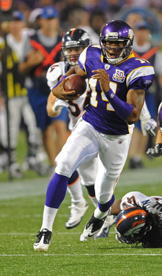 MINNEAPOLIS - SEPTEMBER 02:  Joe Webb #14 of the Minnesota Vikings carries the ball during an NFL preseason game against the Denver Broncos at the Mall of America Field at Hubert H. Humphrey Metrodome, on September 2, 2010 in Minneapolis, Minnesota.  (Pho