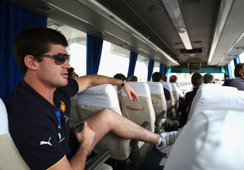 SHANGHAI, CHINA - OCTOBER 16:  Jonathan Brown of the Lions rides on the team bus through central Shanghai on October 16, 2010 in Shanghai, China. The Melbourne Demons will play the Brisbane Lions in an AFL trial match at Jiangwan Sports Centre on Sunday.