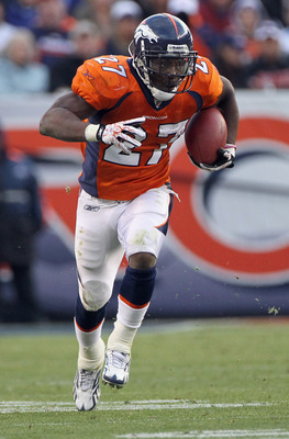 DENVER - NOVEMBER 14:  Running back Knowshon Moreno #27 of the Denver Broncos rushes against the Kansas City Chiefs at INVESCO Field at Mile High on November 14, 2010 in Denver, Colorado. The Broncos defeated the Chiefs 49-29.  (Photo by Doug Pensinger/Ge