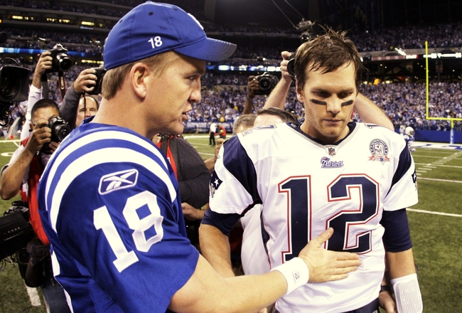 INDIANAPOLIS - NOVEMBER 15:  Quarterback Peyton Manning #18 of the Indianapolis Colts greets Tom Brady #12 of the New England Patriots after the game at Lucas Oil Stadium on November 15, 2009 in Indianapolis, Indiana.  The Colts won the game 35-34. (Photo