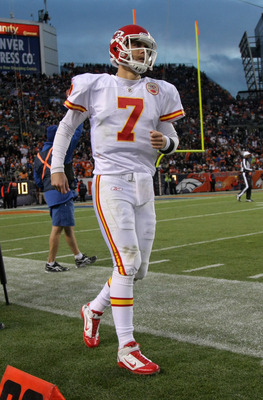 DENVER - NOVEMBER 14:  Quarterback Matt Cassel #7 of the Kansas City Chiefs heads to the bench against the Denver Bronco at INVESCO Field at Mile High on November 14, 2010 in Denver, Colorado. The Broncos defeated the Chiefs 49-29.  (Photo by Doug Pensing