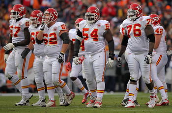 DENVER - NOVEMBER 14:  (L-R) Offensive linemen Barry Richardson #67, Ryan Lilja #65, Casey Wiegmann #62, Brian Waters #54 and Brandon Albert #76 of the Kansas City Chiefs head to the line of scrimmage to face the Denver Broncos defense at INVESCO Field at