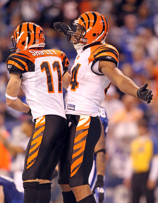 INDIANAPOLIS - NOVEMBER 14:  Jermaine Gresham #84 of the Cincinnati Bengals celebrates with Jordan Shipley#11 after catching a pass for a touchdown during the Bengals 23-17 loss to the Indianapolis Colts in the NFL game at Lucas Oil Stadium on November 14