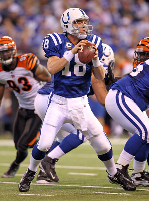 INDIANAPOLIS - NOVEMBER 14:  Peyton Manning #18 of the Indianapolis Colts looks to throw a pass during the NFL game against the Cincinnati Bengals at Lucas Oil Stadium on November 14, 2010 in Indianapolis, Indiana. The Colts won 23-17.  (Photo by Andy Lyo