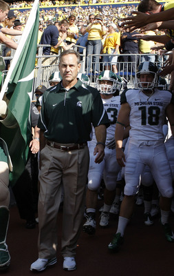 ANN ARBOR, MI - OCTOBER 09:  Michigan State head coach Mark Dantonio gets ready to enter the field prior to the start of the game against the Michigan Wolverines October 9, 2010 at Michigan Stadium in Ann Arbor, Michigan. The Spartans defeated the Wolveri