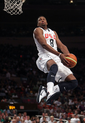 NEW YORK - AUGUST 15: Rudy Gay #8 of the United States goes up for the dunk against France during their exhibition game as part of the World Basketball Festival at Madison Square Garden on August 15, 2010 in New York City.  (Photo by Nick Laham/Getty Imag