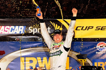 BRISTOL, TN - AUGUST 21:  Kyle Busch, driver of the #18 Doublemint Toyota, celebrates in Victory Lane after winning the NASCAR Sprint Cup Series IRWIN Tools Night Race at Bristol Motor Speedway on August 21, 2010 in Bristol, Tennessee.  (Photo by John Har