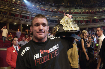 LONDON - JULY 13:  Matt Hughes of the USA and current Welterweight Champion celebrates his win over Carlos Newton of Canada during the Ultimate Fighting Championship, 'Brawl in the Royal Albert Hall', in the Royal Albert Hall London, England on July 13, 2