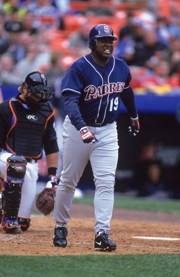 3 Apr 2000:  Tony Gwynn #19 of the San Diego Padres getting off the field after being hit by the pitch during the game against the New York Mets at Shea Stadium in Flushing, New York. The Mets defeated the Padres 2-1. Mandatory Credit: Al Bello  /Allsport