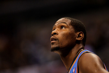 LOS ANGELES, CA - NOVEMBER 03:  Kevin Durant #35 of the Oklahoma City Thunder looks on during the game with the Los Angeles Clippers at Staples Center on November 3, 2010 in Los Angeles, California.  The Clippers won 107-92.  NOTE TO USER: User expressly