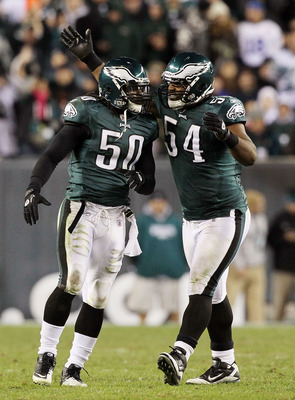 PHILADELPHIA - NOVEMBER 07:  Ernie Sims #50 of the Philadelphia Eagles celebrates his fourth quarter sack against the Indianapolis Colts with teammate Brandon Graham #54 on November 7, 2010 at Lincoln Financial Field in Philadelphia, Pennsylvania. The Eag