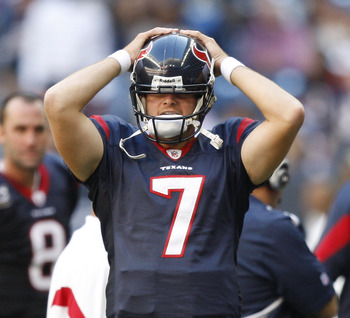 HOUSTON - NOVEMBER 07:  Dan Orlovsky #7 of the Houston Texans reacts after a late interception by San Diego was not overturned on a challenge at Reliant Stadium on November 7, 2010 in Houston, Texas.  (Photo by Bob Levey/Getty Images)