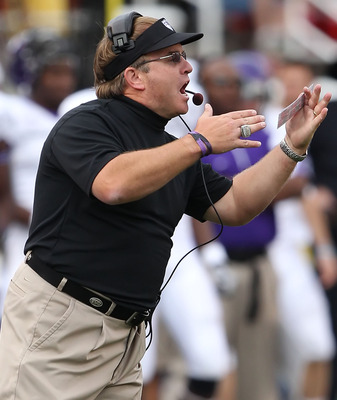 SALT LAKE CITY, UT - NOVEMBER 6: Head coach Gary Patterson of the TCU Horned Frogs calls a play against the Utah Utes during the second half of an NCAA Football game November 6, 2010 at Rice-Eccles Stadium in Salt Lake City, Utah. TCU Beat Utah 47-7.  (Ph