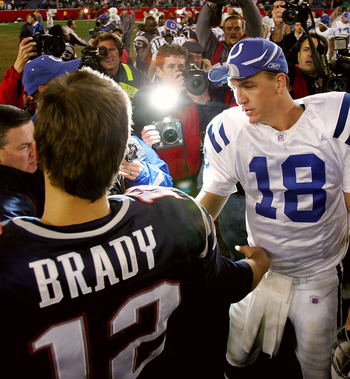 FOXBORO, MA - NOVEMBER 07:  Peyton Manning #18 of the Indianapolis Colts shakes hands with Tom Brady #12 of the New England Patriots after the Colts defeated the Patriots, 40-21 at Gillette Stadium on November 7, 2005 in Foxboro, Massachusetts.    (Photo