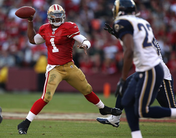 SAN FRANCISCO - NOVEMBER 14:  Troy Smith #1 of the San Francisco 49ers passes against the St. Louis Rams during an NFL game at Candlestick Park on November 14, 2010 in San Francisco, California.  (Photo by Jed Jacobsohn/Getty Images)
