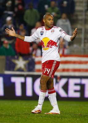 HARRISON, NJ - NOVEMBER 04:  Thierry Henry #14 of the New York Red Bulls reacts after a missed scoring change against the San Jose Earthquakes during the 2nd Leg of the MLS playoffs on November 4, 2010 at Red Bull Arena in Harrison, New Jersey.  (Photo by