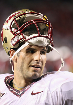 RALEIGH, NC - OCTOBER 28:  Christian Ponder #7 of the Florida State Seminoles watches on against the North Carolina State Wolfpack during their game at Carter-Finley Stadium on October 28, 2010 in Raleigh, North Carolina.  (Photo by Streeter Lecka/Getty I