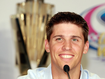CORAL GABLES, FL - NOVEMBER 18:  Denny Hamlin, driver of the #11 FedEx Toyota, speaks to the media during the NASCAR Championship Contenders press conference on November 18, 2010 in Coral Gables, Florida.  (Photo by Sam Greenwood/Getty Images for NASCAR)