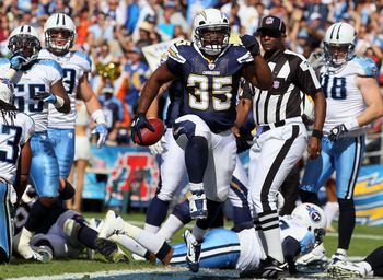 SAN DIEGO - OCTOBER 31:  Running back Mike Tolbert #35 of the San Diego Chargers celebrates a touchdown against the Tennessee Titans during the game at Qualcomm Stadium on October 31, 2010 in San Diego, California. The Chargers defeated the Titans 33-25.