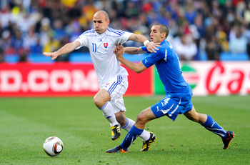 JOHANNESBURG, SOUTH AFRICA - JUNE 24: Giorgio Chiellini of Italy clashes with Robert Vittek of Slovakia during the 2010 FIFA World Cup South Africa Group F match between Slovakia and Italy at Ellis Park Stadium on June 24, 2010 in Johannesburg, South Afri