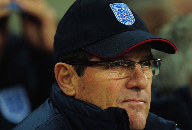 LONDON, ENGLAND - NOVEMBER 17:  Fabio Capello manager of England looks on prior to the international friendly match between England and France at Wembley Stadium on November 17, 2010 in London, England.  (Photo by Shaun Botterill/Getty Images)
