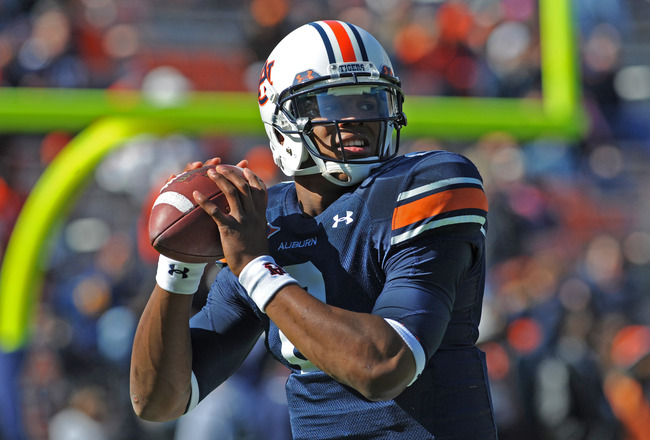 AUBURN, AL - NOVEMBER 06:  Quarterback Cam Newton #2 of the Auburn Tigers warms up before play against the Chattanooga Mocs November 6, 2010 at Jordan-Hare Stadium in Auburn, Alabama.  (Photo by Al Messerschmidt/Getty Images)