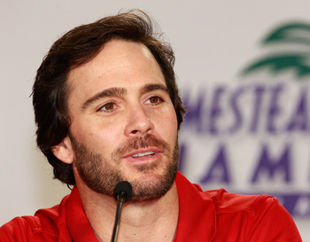 CORAL GABLES, FL - NOVEMBER 18:  Jimmie Johnson, driver of the #48 Lowe's Chevorlet, addresses the media during the NASCAR Championship Contenders press conference on November 18, 2010 in Coral Gables, Florida.  (Photo by Sam Greenwood/Getty Images for NA