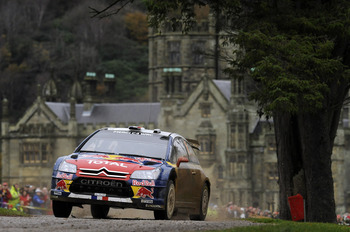 CARDIFF, WALES - NOVEMBER 14:  Sebastien Loeb of France and Daniel Elena of Monaco compete in their Citroen C4 WRT during Leg3 of the WRC Wales Rally GB on November 14, 2010 in Cardiff, Wales.  (Photo by Massimo Bettiol/Getty Images)