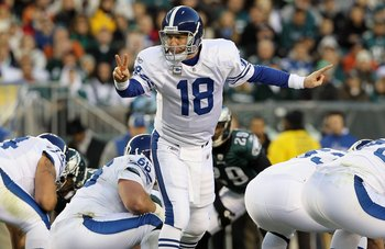 PHILADELPHIA - NOVEMBER 07:  Peyton Manning #18 of the Indianapolis Colts in action against the Philadelphia Eagles on November 7, 2010 at Lincoln Financial Field in Philadelphia, Pennsylvania. The Eagles defeated the Colts 26-24.  (Photo by Jim McIsaac/G