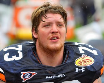 TAMPA, FL - JANUARY 1: Offensive lineman Lee Ziemba #73 of the Auburn Tigers watches play against the Northwestern Wildcats in the Outback Bowl January 1, 2010 at Raymond James Stadium in Tampa, Florida.  (Photo by Al Messerschmidt/Getty Images)