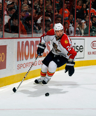 PHILADELPHIA - NOVEMBER 13:  Brian McCabe #24 of the Florida Panthers skates with the puck in a game against the Philadelphia Flyers on November 13, 2010 in Philadelphia, Pennsylvania.  (Photo by Lou Capozzola/Getty Images)